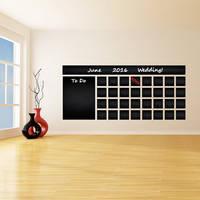 Blackboard Vinyl Wall Decal Calendar with To Do List / Chalkboard Erasable Office Mural /
