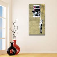 Banksy Naked Man Canvas Print / Husband Returned Home Printing Decor / Man Hanging