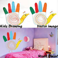 Custom Kids Drawing Vinyl Wall Decal / Make Colorful Sticker From Child Picture / Decals From Baby