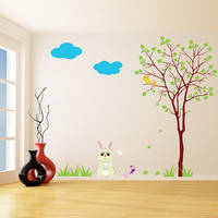 Nursery Vinyl Wall Kids Decal Rabbit with Tree / Art Home Baby Bunny, Birds Sticker / Child