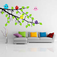 Vinyl Wall Decal Tree Branch with Leaves and Five Cute Colorful Birds / Happy Nature Forest Creature