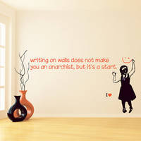 Banksy Vinyl Wall Decal Quote Writing On Walls Doesn't Make You Anarchist / Colorful Girl Smile Face