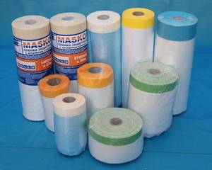 Wholesale protective mask: Multi-function Pre-taped Protective Masking Film for Auto Painting and Building Masking
