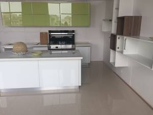 Wholesale glass cabinet: Modern High Gloss Kitchen Cabinet with Glass and Ti-Alloy Profile Cabinet Door