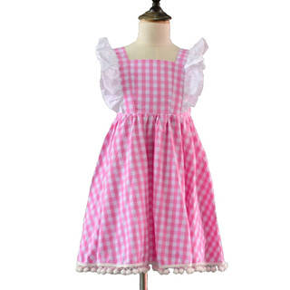 pom: Sell Littler Girls Plaid Pink Pom Pom Lace Dress