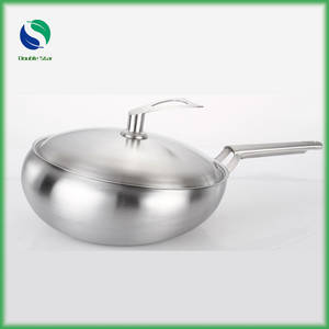 Wholesale Cookware Sets: High-grade 304 Stainless Steel Cooking Wok with Cover Stainless Steel Cookware Sets