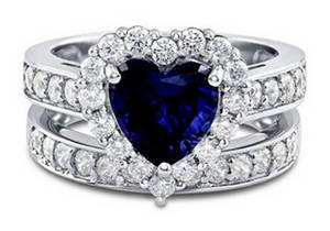 Wholesale Rings: Sterling Silver Ring Jewelry Engagement Ring Wholesale Heart Blue Sapphire Women