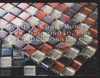 Sell goldleaf glass mosaic 23*23*8mm red and sivler