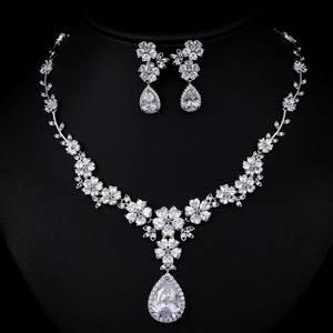 Wholesale jewellery set: AAA CZ Stone Fashion Flower Bridal Jewellery Antique Design Jewelry Set