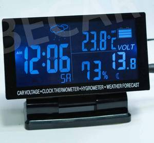 Wholesale weather station clock: Car Battery Voltage Meter with Weather Station Clock