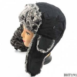 Wholesale winter hat: Black Trapper Fur Hat Cheap Winter Hat Fashion Hat Wholesale Customized Hat