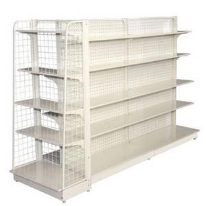 Wholesale supermarket display shelving: Supermarket Shelves Hole Backpanel Gondola Shelving
