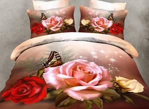 Wholesale 3d bed cover set: China Manufacturer Bedding 100% Polyester 3D Bedding Rose Set