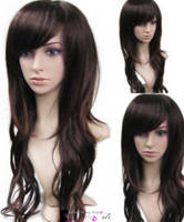 New Long Dark Brown Curly Hair Wig Wigs Gift Hairnet