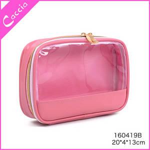 Wholesale pvc cosmetic bag: 2017 NEW Arrival Pink Transparent PVC Cosmetic Bag