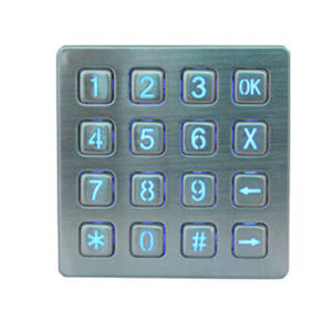 Wholesale Telephone Accessories: High Quality 4x4 Matrix Stainless Steel Metal LED Illuminated USB Metal Numeric Keypad