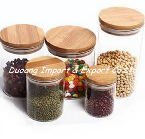 Wholesale Other Kitchen Storage & Organization: Glass Jar with Bamboo/Wooden Lid for Food Storage