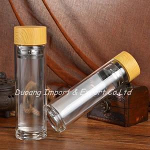 Wholesale Bottles: Bamboo Lid Double Wall Glass Tea Infuser Water Bottle