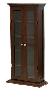 Wholesale glass cabinet: Winsome Wood CD/DVD Cabinet with Glass Doors, Antique Walnut