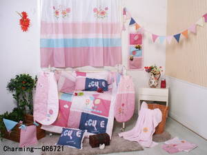Wholesale Nursery Furniture & Decor: Patchwork Embroidery Printed Nursery Bedding Set