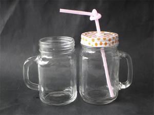 Wholesale beverage bottle: Glass Mason Jar with Tinplate Beverage Bottle