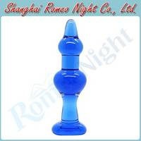 Sell Fashionable Blue Crystal Glass Anal Toys Butt Plug Insert Stopper