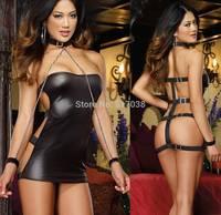 Sell Sexy Club Bondage Dress Set Exotic dancewear costume lingerie sex collar