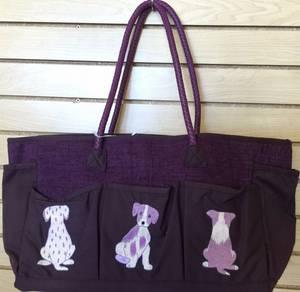 Wholesale embroidery: Shoulder Handbag Hand Embroidery Puppies Decoration Purple Handmade Ship