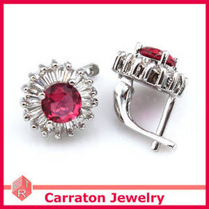 Wholesale diamond earrings: Wholesale China 925 Sterling Silver Ruby and Diamond Earrings
