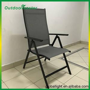 Wholesale Garden & Patio Sets: 7-Position Adjustable Folding Recliner Teslin Black Aluminum Deck Chair