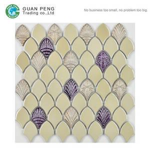 Wholesale ceramic tile: Backsplash Tiles Design Fan Shaped Ceramic Black Mosaic Stone Tiles