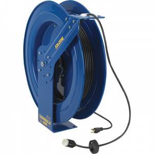 Wholesale power cord: Coxreels EZ-Coil Safety Series Power Cord Reel - 100 Ft., 12/3 Gauge Cord with Single Outlet