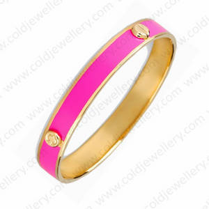 Wholesale bangles: Fushia Color Enamel Bangle
