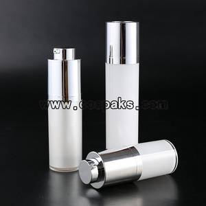 Wholesale Airless Bottles: Sell Cos 15ml 30ml 50ml Rotary Round Shape White Acrylic Serum Bottle and Cosmet