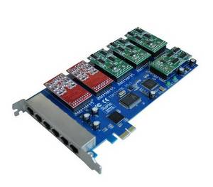Wholesale voip hardware: 24 Fxs/Fxo PCI-E Asterisk Card Same As Digium Card