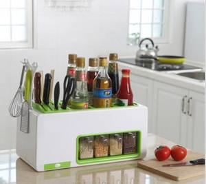 Wholesale Kitchen Tool Sets: Plastic Knife Rack Seasoning Pot Kitchen Storage