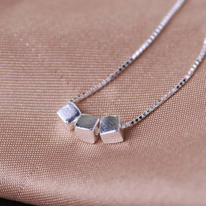 Wholesale cub: 925 Sterling Silver Box Chain Necklace with  Brushed Cub Pendant
