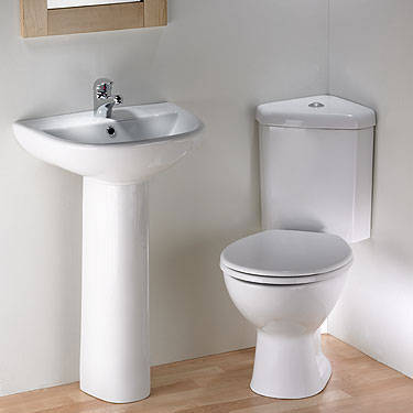 Corner Toilet Pan and Cistern and Basin and Pedestal