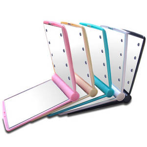 Wholesale led light makeup mirror: Makeup Cosmetic Folding Portable Compact Pocket Mirror 8 LED Lights Lamps Mirror