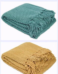 Wholesale knitted throw: Plain Cozy Knitted Bed Throw Blanket gift, Couch Cover
