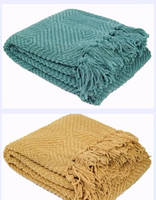 Plain Cozy Knitted Bed Throw Blanket gift, Couch Cover