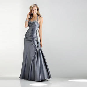 Wholesale prom dresses: Charcoal Trumpet Mermaid Sweetheart neckline Halter Floor-length Taffeta Beading Prom Dress