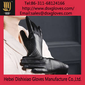 Wholesale leather glove: Women Leather Warm Gloves
