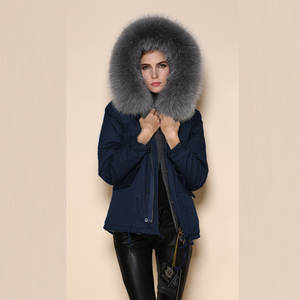 Wholesale Coats: Women Short Navy Parka with Grey Faux Fur Lining and Collar Hotsale Design Parka
