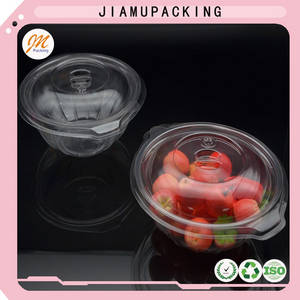 Wholesale salad bowl: Clear Plastic Food and Salad Bowl or Container with Lid