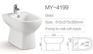 Wholesale toilet bidet: White Ceramic Water Bidet Toilet Bidet MY-4199