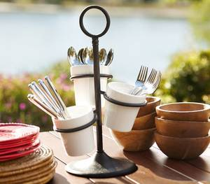 Wholesale pot stand: 3 Stations Ceramic Utensil Caddy with Cast Base