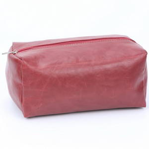 Wholesale pvc cosmetic bag: Red Crack PVC Cosmetic Bag