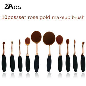 Wholesale makeup lip gloss: High Reliable Hot Selling Foundation Brush 10pcs Tooth Brush Oval Makeup Brush