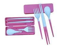 Plastic Fold Fork Spoon and Chopsticks Tableware Sets for Travel